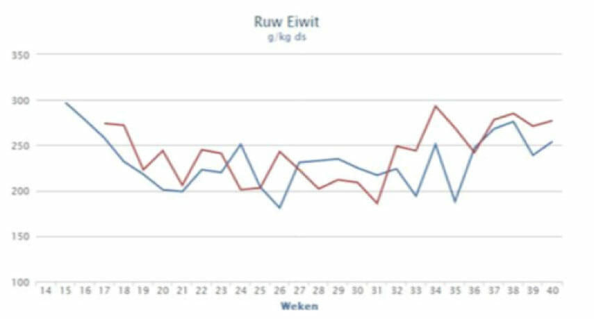Verloop van het ruw eiwitgehalte in gras op veengrond in 2012 (blauwe lijn) en 2013 (rode lijn). 16% ruw eiwit correspondeert met 160 g/kg droge stof