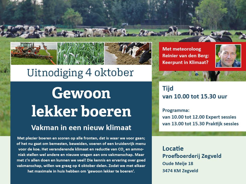 Uitnodiging 4 oktober Gewoon lekker boeren